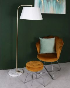 Arc/Leaning Metal Floor Lamp With White Shade