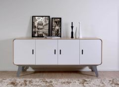 Arcus Oak and Slate 4 Door Sideboard