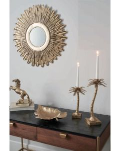 Art Deco Gold Metal Starburst Wall Mirror