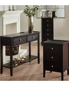 Atlantic Satin Black Pine Wood 3 Drawer Bedside Chest