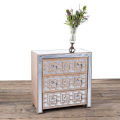 Azur Mirrored Three Drawer Fretted Chest