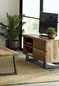 Baltic Mango Wood 2 Drawer TV Unit