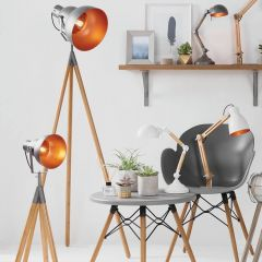 Bamboo & Grey Metal Tripod Film Table Lamp