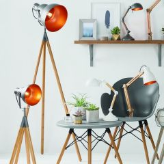 Bamboo & Grey Metal Tripod Film Floor Lamp