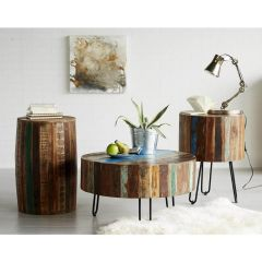 Beach House Drum Coastal Coffee Table