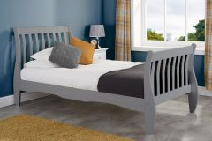 Belfoy Grey Solid Pine Double Bed Frame