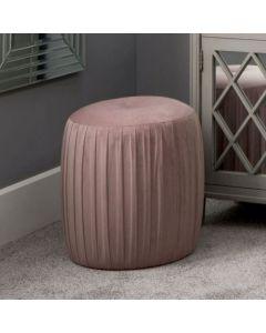 Bibby Blush Pink Velvet Buttoned Cylinder Pouffe