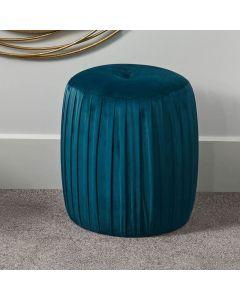 Bibby Sapphire Blue Velvet Buttoned Cylinder Pouffe