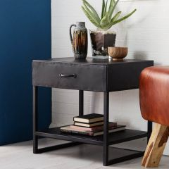 Black Metal Industrial Side Table