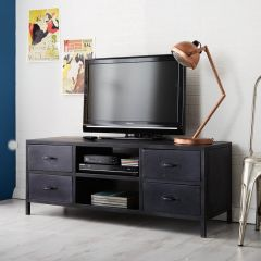 Black Metal Industrial TV Unit