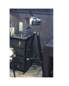 Black Wood Photo Luminaire Tripod Floor Lamp