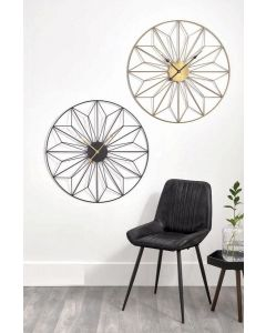 Black and Gold Metal Geometric Round Wall Clock