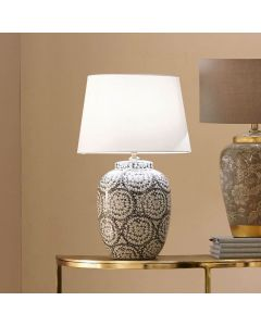 Black and White Linear Flower Ceramic Table Lamp - Base Only