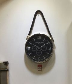 Black Face Wall Clock with Robe Hanger