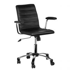 Black Leather Effect Office Chair With Chrome Base