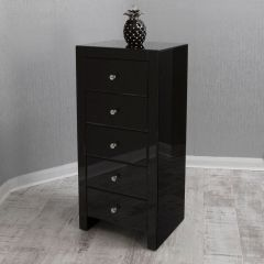 Black Mirrored Tallboy Chest