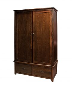 Boston Wide 2 Door 2 Drawer Dark Wood Wardrobe
