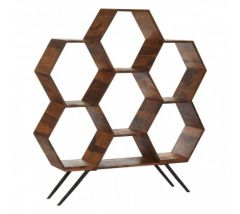 Bovo Sheesham Wood Hexagonal Bookshelf