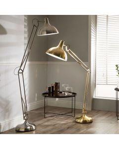 Brushed Chrome Metal Task Floor Lamp