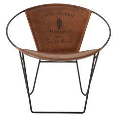 Buffalo Leather Oval Chair