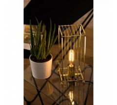 Caged Art Deco Gold Finished Table Lamp