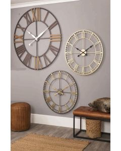 Calgary Grey Metal Round Wall Clock