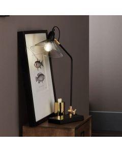Canton Matt Black Metal and Glass Cone Table Lamp