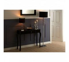 Cattleya Black Glass Console Table