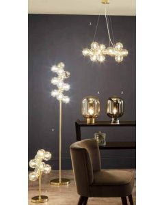 Champagne Metal Lustre Glass 12 Ball Floor Lamp