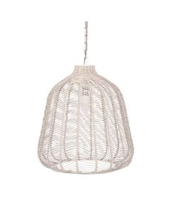 Chevron Patterned Natural Rattan Pendant