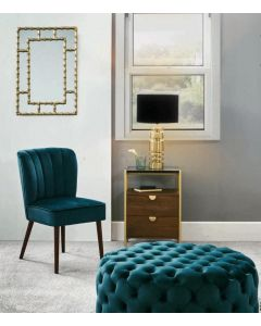 Chloe Gold Metal Bamboo Style Rectangular Wall Mirror