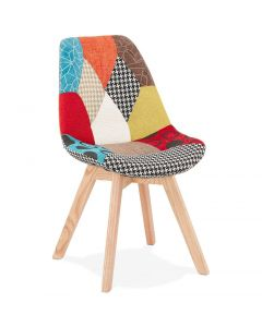 Christer Patchwork and Natural Wood Chair