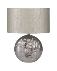 Chrome Hammered Ceramic Table Lamp with Silver Shade