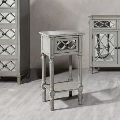 Clara Grey Mirrored Side Table