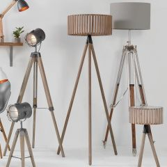 Clark Distressed Slatted Grey Wood Tripod Floor Lamp