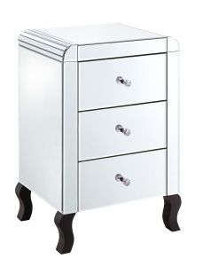 Clear Mirrored Bevelled 3 Drawer Bedside
