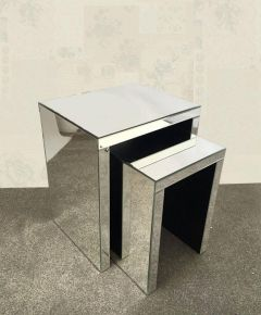 Clear Mirrored Nest Of 2 Tables