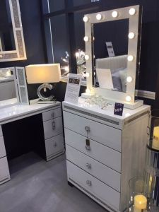 White Cleopatra Mirrored 4 Drawer Tallboy