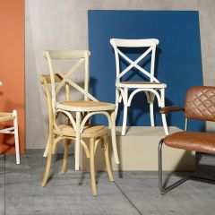 Cotswold Distressed White Rattan Dining Chair