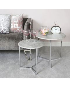 Concrete Effect Top Set Of 2 Chrome Side Tables