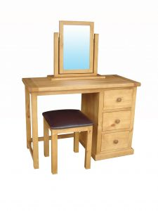 Cottage Pine Dressing Table Set with PU Stool