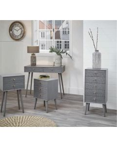 Dark Grey Pine Wood & Gold 3 Drawer Bedside Chest