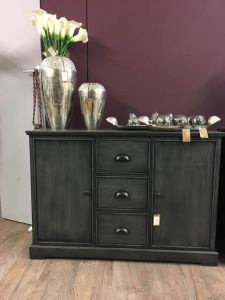 Charlie Grey 3 Drawer 2 Door Sideboard