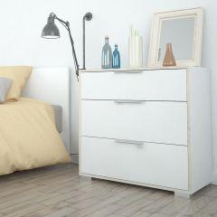 Design Line White and Oak 3 Drawer Chest