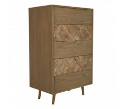 Dina  Metal and Oak 5 Drawer Wood Chest