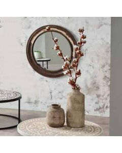 Distressed Wood Round Wall Mirror