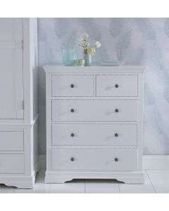 Edwina Pine White 5 Drawer Chest