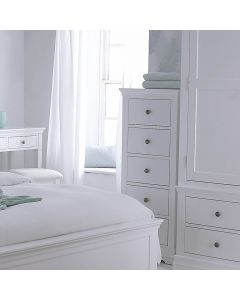 Edwina Pine White 5 Drawer Narrow Chest