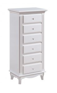 Ella French White 6 Drawer Tallboy