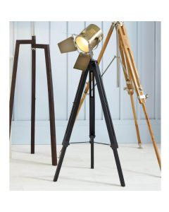 Film Style Black & Antique Brass Tripod Floor Lamp